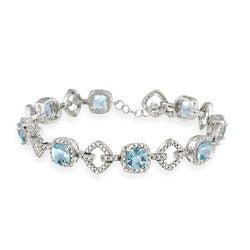 Glitzy Rocks Sterling Silver 8 CTW Blue Topaz and Diamond Accent Bracelet