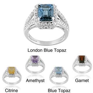 Glitzy Rocks Silver 2 1/4ct TGW Gemstone and Diamond Accent Ring