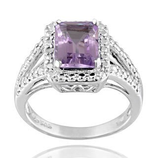 Glitzy Rocks Silver 2 1/4ct TGW Gemstone and Diamond Accent Ring