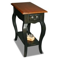 Brown Cherry/ Slate Solid Wood Side Table