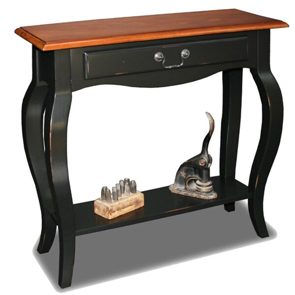 Attirant Brown Cherry/ Slate Solid Wood Console Table