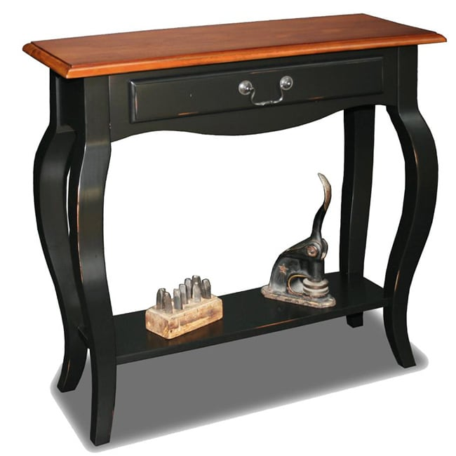 KD Furnishings Brown Cherry/ Slate Solid Wood Console Table