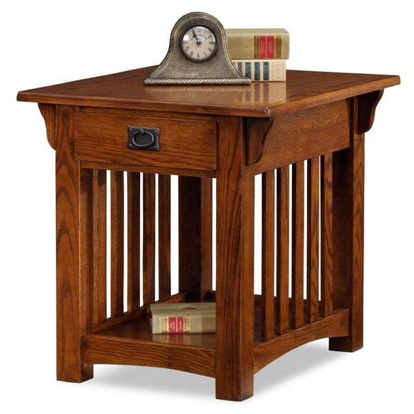 Shop Solid Oak Mission Sienna Drawer End Table Free Shipping Today