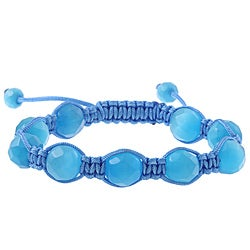 La Preciosa Aqua Cat's Eye Bead Blue Cord Macrame Bracelet