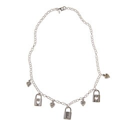La Preciosa Sterling Silver Heart Lock and Puffed Heart Charm Necklace