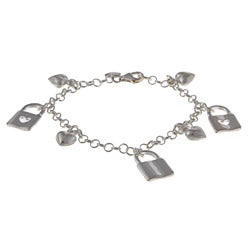 La Preciosa Sterling Silver Heart Lock and Puffed Heart Charm Bracelet