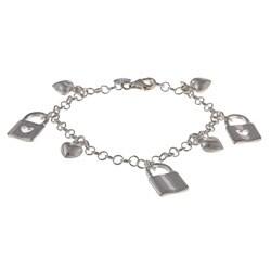 La Preciosa Sterling Silver Heart Lock and Puffed Heart Charm Bracelet
