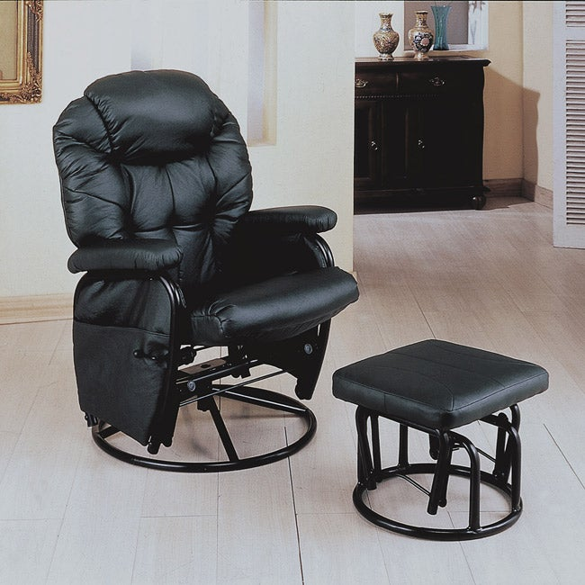 Shop Black Swivel Rocker Recliner With Ottoman Free