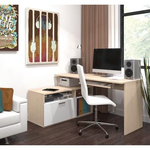 Maple-wood-finish Adjustable Bestar Modula Compact L-Workstation Desk
