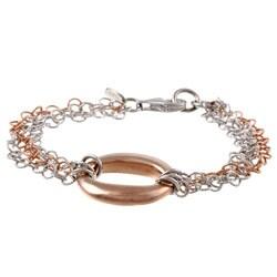 La Preciosa Two-tone Sterling Silver Multi-strand Circle Bracelet