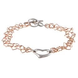 La Preciosa Two-tone Sterling Silver Greek Key Center Heart Bracelet