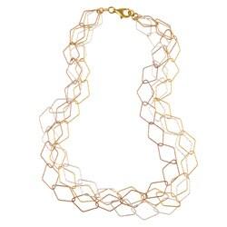 La Preciosa Tri-color Silver 20-inch Diamond-shaped Link Necklace
