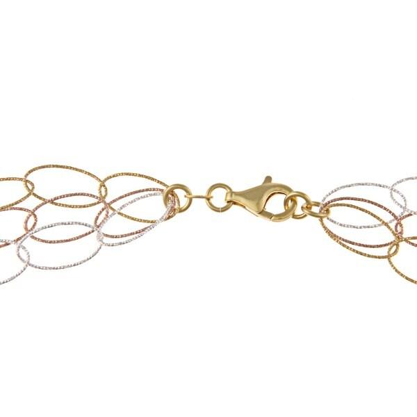 La Preciosa Tri-color Sterling Silver 20-inch Oval Link Necklace