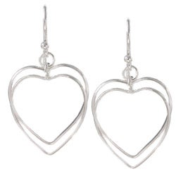 La Preciosa Sterling Silver Double Open Heart Earrings