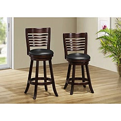 Cappuccino Solid Wood Swivel Barstool (Set of 2)