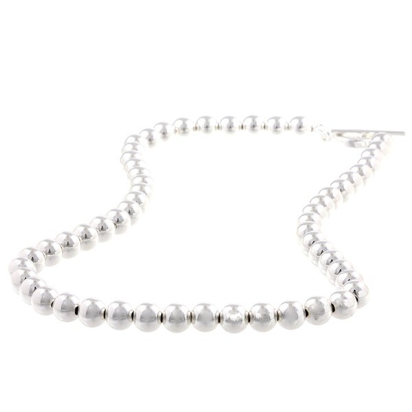 La Preciosa Sterling Silver 8-mm Beaded Toggle Necklace
