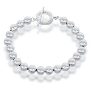 La Preciosa Sterling Silver 8-mm Beaded Toggle Bracelet