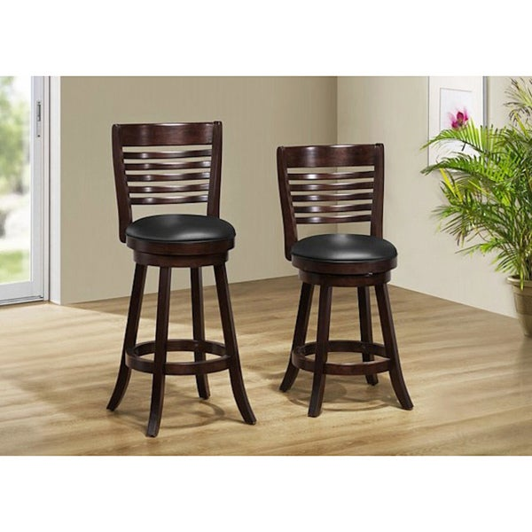 Cappuccino Solid Wood Swivel Barstool Set Of 2 Free