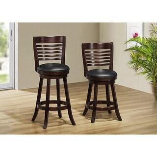 Cappuccino Solid Wood Swivel Barstool (Set of 2)