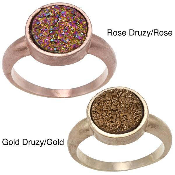 Caribe Gold Round Druzy Gemstone Ring