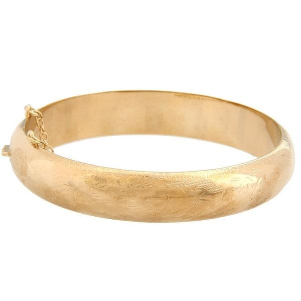 Sterling Essentials 14K Gold over Silver Engraved Bangle Bracelet (12mm)