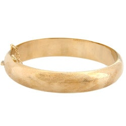 Sterling Essentials 14K Gold over Silver Engraved Bangle Bracelet (12mm)