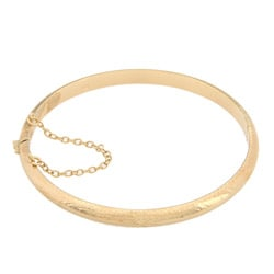 14K Gold over Sterling Silver 7 Inch Engraved Bangle Bracelet (5mm)