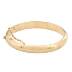 14K Gold over Sterling Silver 7 Inch Engraved Bangle Bracelet (9mm)