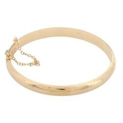 Gold Over Sterling Silver Engraved Bangle Bracelet