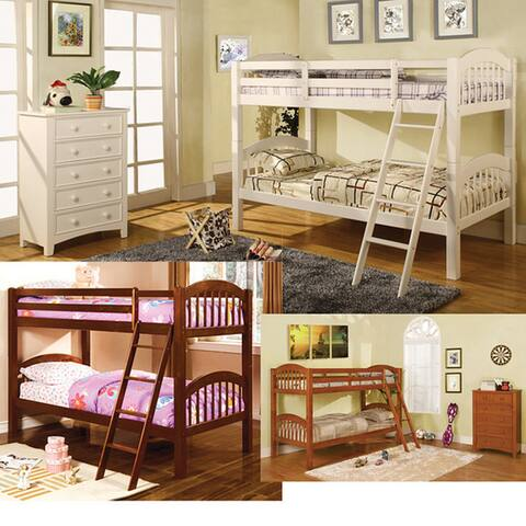 Furniture of America Lect Cottage White Twin Solid Wood Bunk Bed