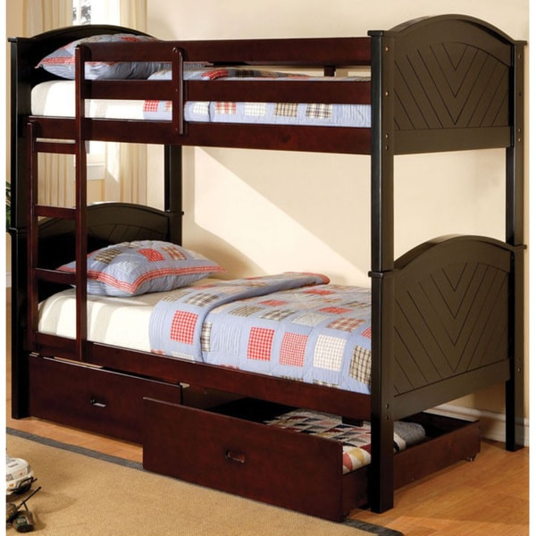 Furniture of America Marcy Two-tone Twin Bunk Bed with Drawers Set