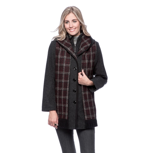 Trilogi Women's Wool-blend Hooded Coat with Attached Scarf