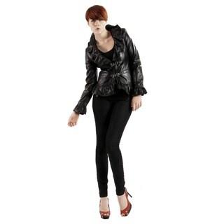 United Face Women's Luxury Leather Ruffle Jacket