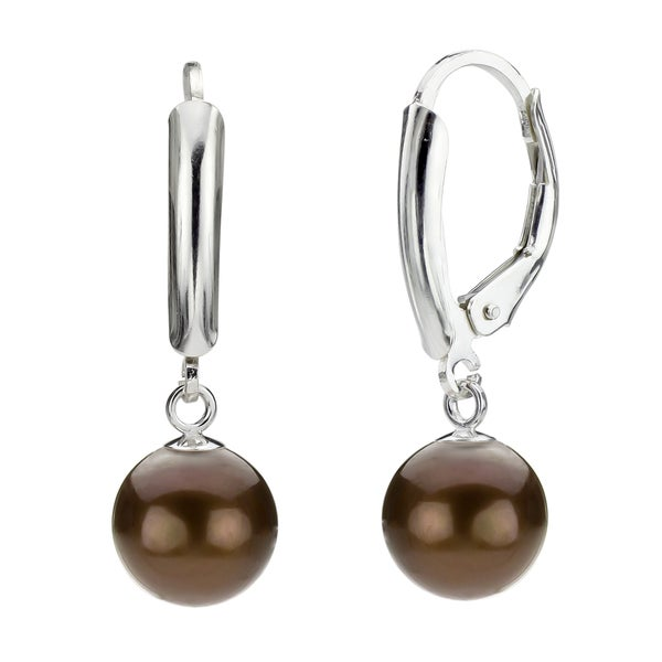 DaVonna Silver Chocolate Round FW Pearl Leverback Earrings (6-7 mm)