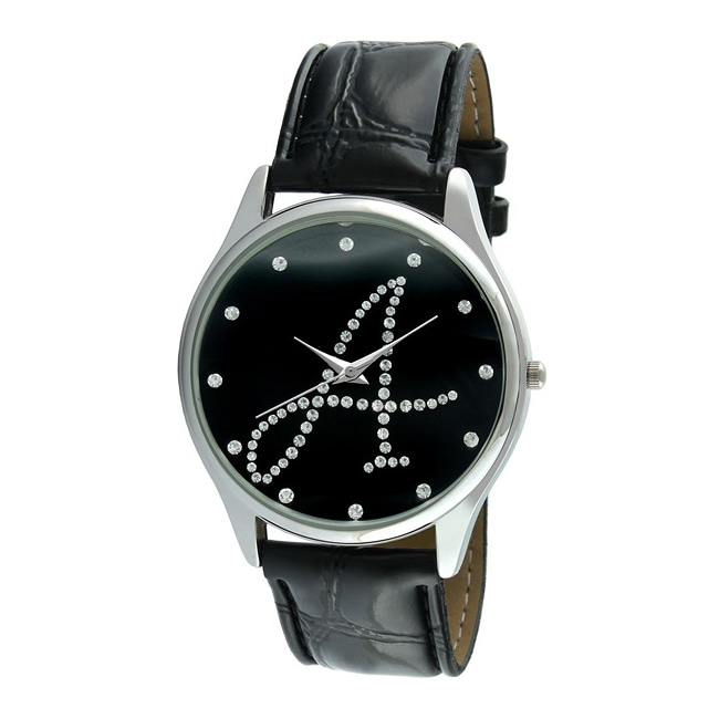 Viva Women's Silvertone Round Dial Initial 'A' Watch