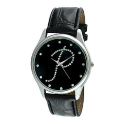 Viva Women's Silvertone Round Dial Initial 'P' Watch
