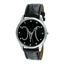 Viva Women's Silvertone Round Dial Initial 'M' Watch
