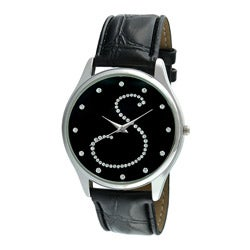 Viva Women's Silvertone Round Dial Crystal Initial 'S' Watch
