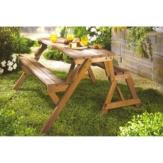 Merry Products Interchangeable Picnic Table  Garden Bench. Wood Patio Furniture   Outdoor Seating   Dining For Less