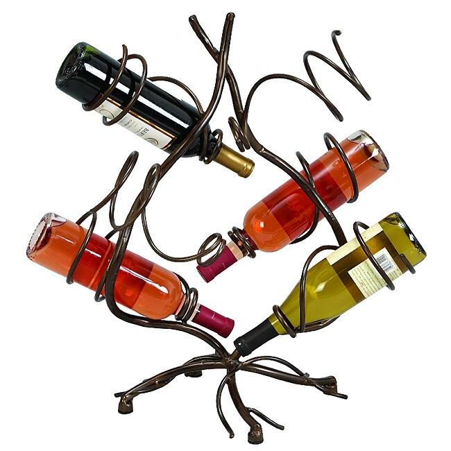 Casa cortes 6 bottle wrought iron spiral vines wine holder for Wine bottle christmas tree frame for sale