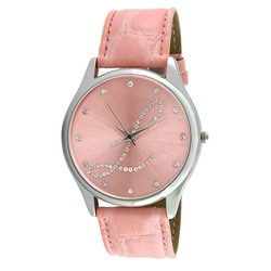 Viva Women's Crystal Initial 'L' Pink Watch