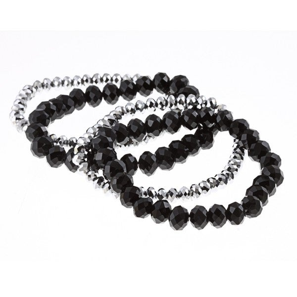 Alexa Starr Silver and Black Crystal Beads Stretch Bracelet