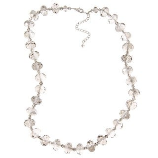 Alexa Starr Silvertone Grey Glass Bead Necklace