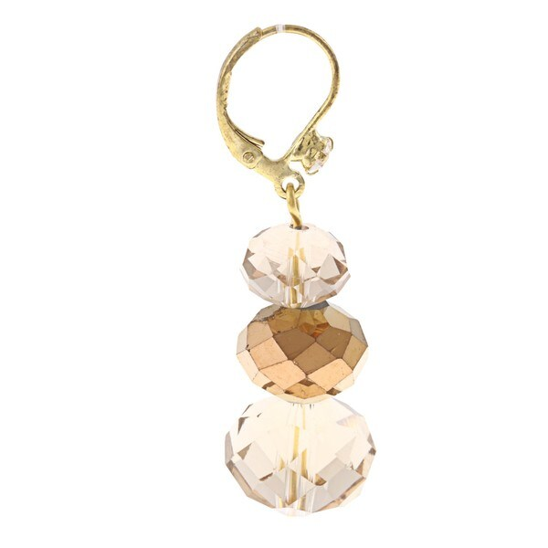Alexa Starr Goldtone Bronze Crystal Faceted Drop Earrings