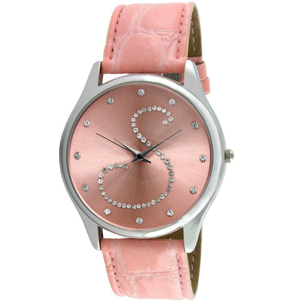 Viva Women's Crystal Initial 'S' Pink Watch
