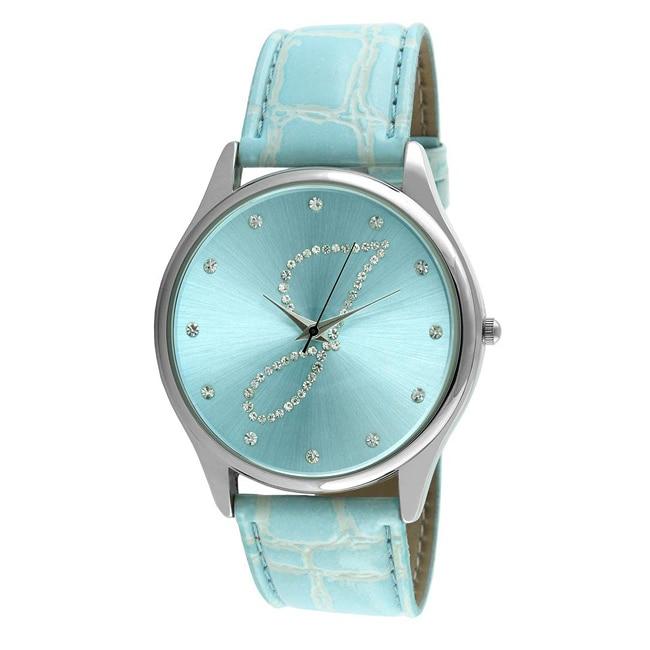 Viva Women's Crystal Initial 'J' Blue Watch