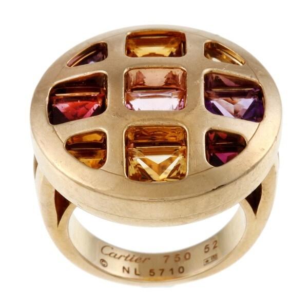 Cartier 18k Yellow Gold Multi-gemstone Pasha Estate Ring