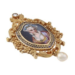 Pre-owned 18k Gold Pearl and 1/4ct TDW Diamond Portrait Estate Brooch (J-K, I1-I2)