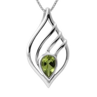 Sterling Silver Peridot Teardrop Necklace (Thailand)