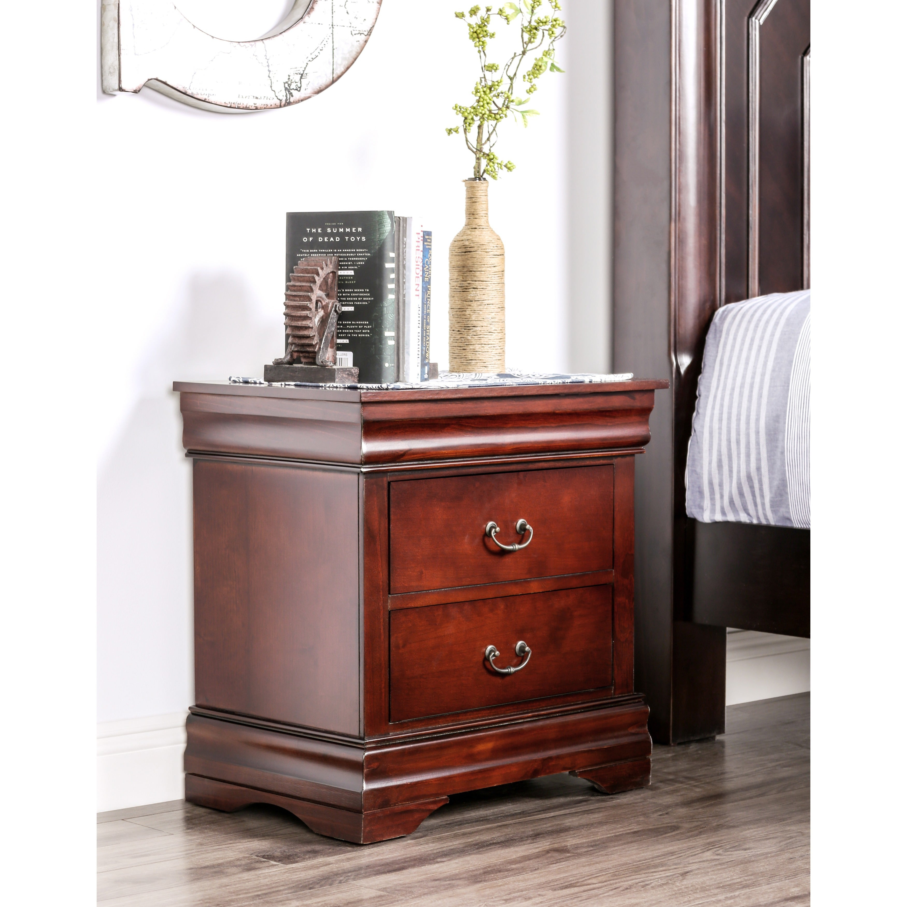 Furniture Of America Laurelle Dark Cherry Finish 2 Drawer Nightstand